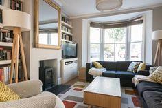modern sitting room, victorian terraced house, wood burner, bay window