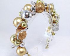 silver and gold Christmas headband christmas headband women ugly sweater party new years headband luxury christmas ornament headband Christmas Headpiece, Gold Christmas, Christmas Crafts, Christmas Ornaments, Diy Christmas Headbands, Xmas, New Year Headband, Diy Headband, Ugly Sweater Party