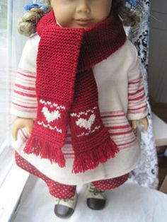 """Free Pattern for Nice long scarf for your 18"""" doll, such as American Girl doll """"Kirsten."""""""