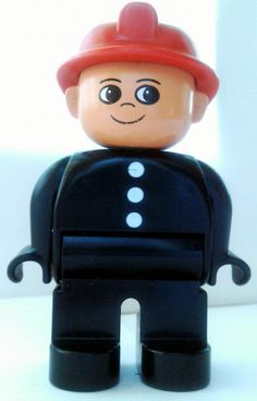 #LEGO Duplo Figure, Fireman, Black Top with 3 White Buttons, Red Fire Helmet.Classic #Duplo