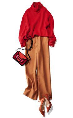 【Day21】女友だちとのイタリアンは、流行っぽいハイウエストのキャメルパンツで!【冬の洗練パンツ30days】 | Web eclat | Jマダムのためのお役立ち情報サイト Fashion Books, Fashion Days, Fashion Outfits, Muslim Fashion, Modest Fashion, Sweater Outfits, Cute Outfits, Hijab Style, Japanese Outfits