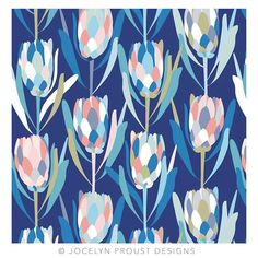 jos_proust - My protea design has been very popular with makers who are doing amazing things with their lovely cotton/linen fabric. It is available in two other colourways from Design Textile, Design Floral, Motif Floral, Textile Patterns, Flower Patterns, Print Patterns, Floral Prints, Flower Pattern Design, Lino Prints