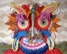 """Happy Minotaur by Michael Velliquette from """"Papercraft: Design and Art with Paper"""" Chinese Mask, Sweet Station, Josephine, Paper Artist, Art Plastique, Paper Crafts, Paper Paper, Cut Paper, Contemporary Art"""