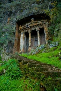"The distinctive Tomb of Amyntas in Fethiye, Turkey.  For a small fee, visitors can climb the stairs and see an amazing view of Fethiye from the ""front porch"" of the tomb."