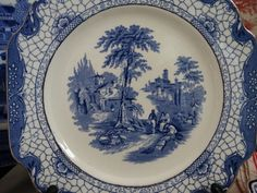 """Set of 6 Adams """"Landscape""""  Square Luncheon Plates in Blue Transferware . Made…"""
