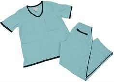 Natural Uniforms Women's Scrub Set Medical Scrub Top and Pants M Water Blue Set / Black Trim Discount Scrubs, Cheap Scrubs, Nursing Clogs, Lab Coats, Medical Uniforms, Womens Scrubs, Medical Scrubs, Scrub Sets, Black Trim