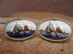 Vintage Sailboat Cufflinks Wedding Men's Father's by TreeTownPaper, $28.00