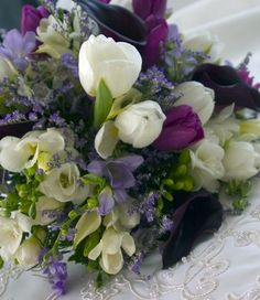 Purple and White Flowers #purple #white #flowers #bouquet #wedding