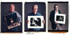 Famous photographers stand with their most iconic photographs