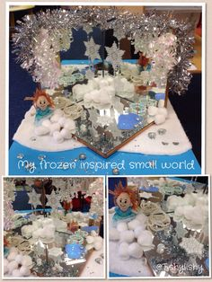 My 'Frozen' inspired small world. Set inside the mirror box.