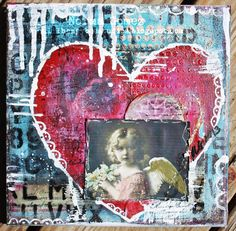 Urban Angel Mixed Media Canvas using Paper Wings Productions Nesting Components kits