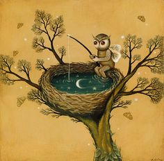 ♥ this - little owl fishing in his nest