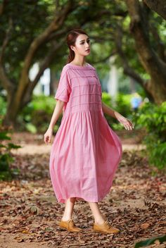 Plaid long linen dress for women. (1) ❤ 100% Linen Guarantee. We choose best linen that wont wrinkle or fade. No Cheap Linen Blend! (2) ❤ Fast Shipment. 1-3 days to ship.  Design: 1.stereo striped plaid all over the top. 2.beautiful double layered collar and sleeve cuff. 3.Two pockets. Silver buttons at the back. 4.The skirt is so so flowing when you walk. 5.lining: yes, soft cotton lining. high quality made  Fabric: 100% linen, The default fabric is soft. one of the most high end linen in…