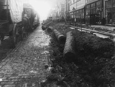 Center City - Early wooden pipes uncovered and removed near 13th & Market Streets - Circa.1900. Starting in 1819, the City of Philadelphia began replacing wooden pipes with cast iron ones. Besides being more durable, the cast-iron pipes made it easier to maintain water pressure throughout the system.
