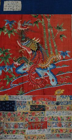 Antique Chinese Silk and Gold thread Embroidery panel 1700-1800 A.D: