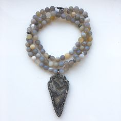 Long Gray Banded Agate Matte Boho Beaded Necklace with Gunmetal Crystal Pave Arrowhead Pendant  #PierceDesignCo