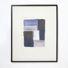 Watercolor Brushstroke Wall Art, Large, Indigo/White