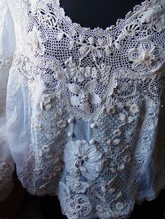 Antique Edwardian Laces Blouse Irish Lace, Filet lace 20's Era Med #FrenchLAces