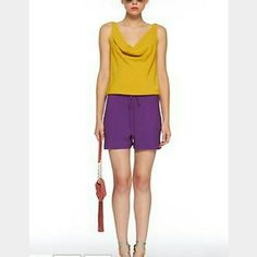 """DFV silk Tadd romper Just a show stopper. Stunning combination of color: mustard and purple. 100% silk. Excellent condition. 40"""" bust, 32"""" waist, 36"""" length. Simply a must have. 4338 Diane von Furstenberg Dresses Mini"""