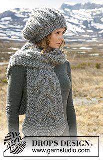 Colombelle - Ensemble : Bonnet DROPS en côtes anglaises et écharpe avec torsades en « Polaris ». - Free pattern by DROPS Design