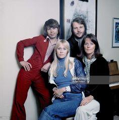 ABBA pose for a group portrait in Stockholm, April 1976. (L-R) Benny Andersson, Agnetha Faltskog, Bjorn Ulvaeus, Anni-Frid Lyngstad.