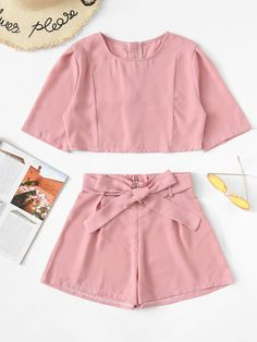 Shop Zip Up Back Top With Belted Shorts online. SheIn offers Zip Up Back Top With Belted Shorts & more to fit your fashionable needs. Cute Lazy Outfits, Short Outfits, Trendy Outfits, Cool Outfits, Short Dresses, Teen Fashion Outfits, Outfits For Teens, Tumblr Outfits, Athletic Outfits