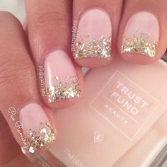 Light pink polish with gold glitter on top