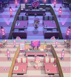 Welcome to my two-story diner, open 24 hours! 🎀🍴(posted a few weeks ago when it was still a work in progress, and now here is the final result in day/night view! Animal Crossing Cafe, Animal Crossing Funny, Animal Crossing Qr Codes Clothes, Animal Crossing Pocket Camp, Animal Games, My Animal, Ac New Leaf, Motifs Animal, Like Animals