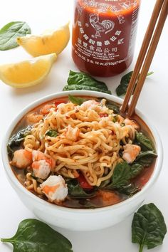 This Sriracha Shrimp Ramen is so easy and delicious! A flavorful ramen noodle soup recipe the whole family will love! Shrimp Ramen Ramen is … Ramen Noodle Soup, Ramen Noodle Recipes, Ramen Noodles, Ramen Broth, Shirataki Noodles, Asian Noodles, Seafood Recipes, Soup Recipes, Cooking Recipes
