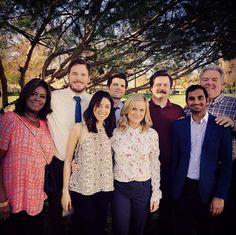 Parks and Recreation cast. Retta, Chris Pratt, Aubrey Plaza, Adam Scott, Amy Poehler, Nick Offerman, Aziz Ansari, and Jim O'Heir.