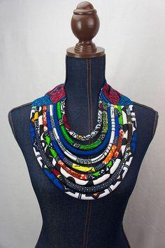 African Bib Necklace - Maasai Necklace - Ankara Necklace - Multicolored Ethnic…
