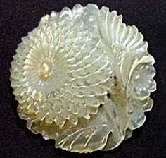 Intricately Carved Mother Of Pearl Button