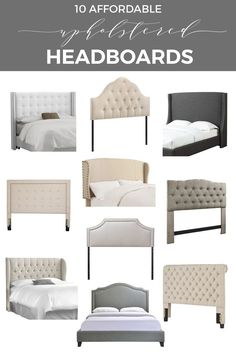 Shopping ideas to help you find stylish upholstered headboards that fit into your budget and work with your home decor Modern headboards including tufted headboards, fabric headboard, wingback headboard, padded headboard Nailhead Headboard, Modern Headboard, Headboard Designs, Headboards For Beds, Upholstered Headboards, Headboard Ideas, Diy Fabric Headboard, Bed With Headboard, Cheap Headboards