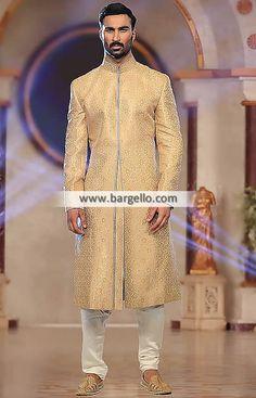 Burlywood bnarasi Jamawar Plain Sherwani For Groom  Color: Burlywood Fabric: Polyester Jamawar Plain