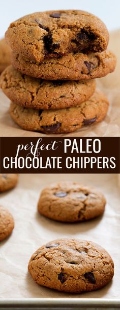 Perfect Paleo chocolate chip cookies, made with almond flour and a bit of coconut flour for structure. Satisfy your sweet tooth and your appetite, too!