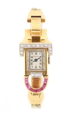 Square Watch, Gemstone Colors, Retro, Red Gold, Vintage Jewelry, Art Deco, Gemstones, Watches, Accessories