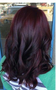 Hair Color Dark, Cool Hair Color, Burgundy Colour, Cherry Cola Hair Color, Dark Red Hair Burgundy, Cherry Hair Colors, Red Purple, Dark Brown Purple Hair, Dark Maroon Hair