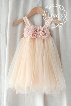 My flower girls dresses :-) Tulle Flower Girl Dress with Chiffon Flowers-Infant by LingsBridal