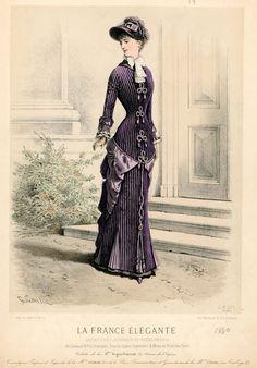La France Élégante 1880 1880s Fashion, Edwardian Fashion, Vintage Fashion, Victorian Illustration, Fashion Illustration Vintage, Victorian Costume, 19th Century Fashion, Old Dresses, Period Outfit