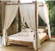 Assembling a Queen Canopy Bed Frame Canopy Bed Curtains, Canopy Bed Frame, Canopy Bedroom, Hotel Canopy, Fabric Canopy, Diy Canopy, Bamboo Bed Frame, Ikea Canopy, Fairy Houses