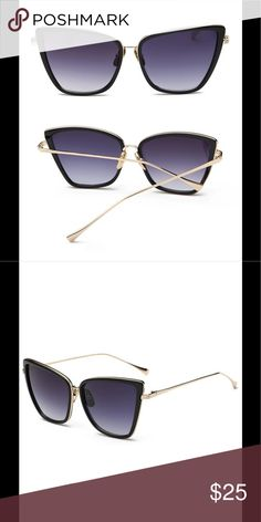 Black with gold trim cat eye sunglasses Cute cat eye sunglasses with gold trim and arms with black tinted lenses Accessories Sunglasses