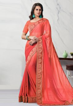 Buy Red Chiffon Festival Wear Saree 203757 with blouse online at lowest price from vast collection of sarees at Indianclothstore.com. Red Chiffon, Chiffon Saree, Blouse Online, Festival Wear, How To Wear, Stuff To Buy, Collection