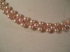 Pink Pearl Beadwork Necklace Choker Collar Bib by BellaLucaDesigns