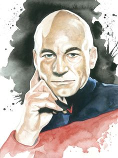 Star Trek TNG Next Generation Watercolor Art Print: Capt. Like the background. Star Trek Tv, Star Wars, Star Trek Original, Akira, Science Fiction, Star Trek Universe, Uss Enterprise, Film, Star Trek