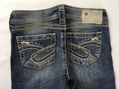 SILVER JEANS SALE Low Rise Embellished Twisted Bootcut Stretch Jean 26X33 31X33 #SilverJeans #BootCut