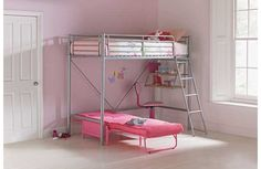 Buy HOME Sit 'N Sleep Metal High Sleeper Futon Bed Frame - Pink at Argos. Kid Beds, Bunk Beds, Futon Bed Frames, High Sleeper Bed, Childrens Beds, Argos, Sweet Home, Bedroom, Stuff To Buy