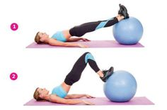 Are you ready to take your stability ball exercise to the next level? We gathered 20 effective stability ball exercises you can try right at home! Best Hamstring Exercises, Stability Ball Exercises, Hamstring Workout, Elyptical Workout, 10 Minute Workout, Hamstring Curls, Muscle Imbalance, Core Muscles, Easy Workouts