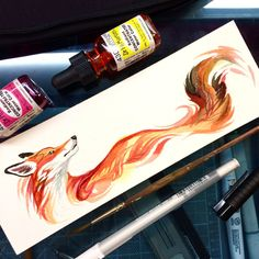 A little fox watercolor from yesterday I have it up in my shop for anyone interested. I also have a large sale right now. All prints and merchandise (excluding stickers and original drawings)...