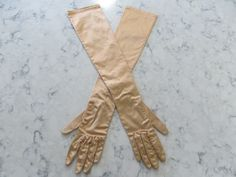 "VINTAGE 1950's ""Made In Western Germany""- 22""- Stretch Bronze Color Opera Length Gloves-Rhinestone Buttons-- Size 6 1/2-Glove Auction # 512 by PrimaMona on Etsy"