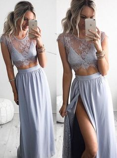 2016 Two piece prom dress,Lace evening dresses,cap sleeve formal dress with slit ,women dresses for evening